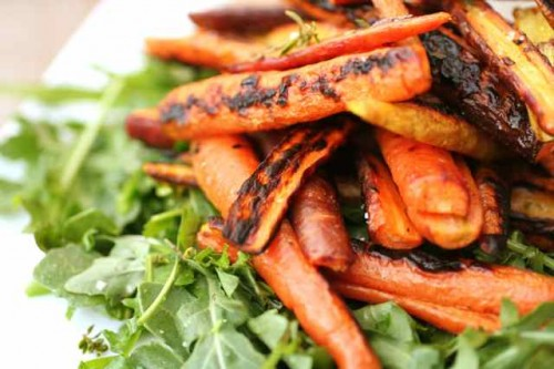 Burnt Carrots With Goat Cheese, Parsley, Arugula, And Crispy Garlic ...