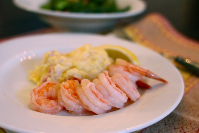 butter-poached shrimp with grits | crunchtime