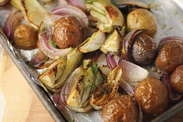 fennel gets roasted while potatoes & onions see red