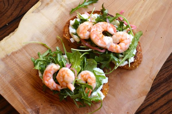shrimp tartine with pickled red onion