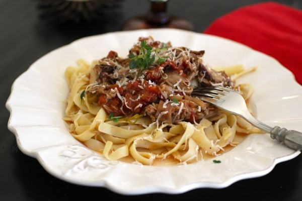 Braised pork ragu over tagliatelle | crunchtime
