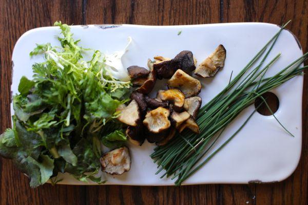 little gems, shiitake mushrooms, chives